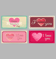 vintage valentines day wedding cards vector image vector image