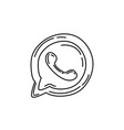 whatsapp icon doodle hand drawn or black outline vector image vector image