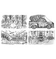 winter landscape with mountains and snow car vector image vector image
