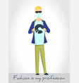 young man in mask and sunglasses on white vector image vector image