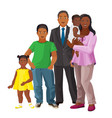 afro-american happy family of parents and three vector image