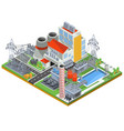 isometric of a nuclear power vector image