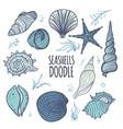 colorful set of seashells on white background vector image