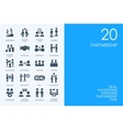 Set of BLUE HAMSTER Library partnership icons vector image