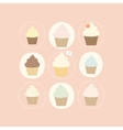 9 different cute cupcakes vector image vector image