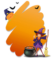 A witch holding a broomstick beside her magical