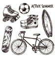 Active Recreation Sketch Set vector image