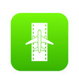 airplane on the runway icon digital green vector image vector image