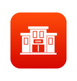 bank building icon digital red vector image vector image