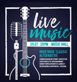 banner with an acoustic guitar and a microphone vector image vector image
