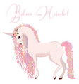 beautiful pink unicorn with curly pink mane vector image