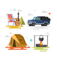 camping set of camping equipment symbols vector image