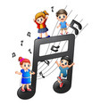 children playing together with notes vector image vector image