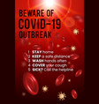 coronavirus covid19-19 awareness poster design vector image