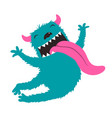 crazy character jumping monster for kids design vector image