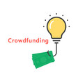 crowdfunding icon with outline bulb vector image vector image