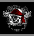 decorative art background with skull high vector image