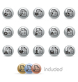 Document Icons 2 MetalRound Series vector image vector image