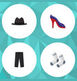 flat icon garment set of pants panama foot vector image vector image