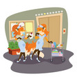 foxes are nurses in the hospital vector image