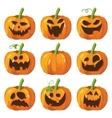 halloween big set with pumpkins 3d vector image