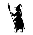 halloween scary witch with broom vector image vector image