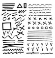 hand-drawn brush raw textured shapes black ink vector image vector image
