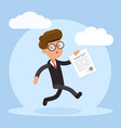 happy businessman running with contract in his vector image