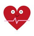 heartbeat medical symbol cartoon smiling vector image vector image