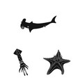 Isolated object of sea and animal symbol set of