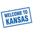 Kansas blue square grunge welcome isolated stamp vector image vector image