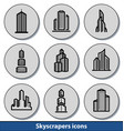 light skyscrapers icons vector image vector image