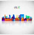 lille skyline silhouette in colorful geometric vector image vector image
