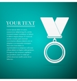 Medal flat icon on blue background vector image vector image