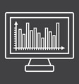 monitor chart line icon business and graph vector image vector image