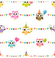 pattern with owls with birthday party hats vector image
