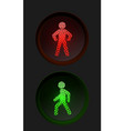 pedestrian traffic lights with red and green lamps vector image