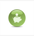 piggy bank icon on a green bubble vector image vector image