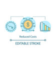 reduced costs technologies concept icon vector image vector image