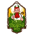 Saint Patrick inside wooden wowen frame vector image vector image