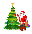 santa claus with christmas tree vector image vector image