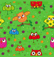 seamless pattern with ornamental owls over green vector image vector image