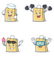 set of bag character with sailor fitness ice cream vector image vector image