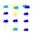 set of weather icons in the colour vector image vector image