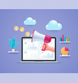 social media marketing concept in 3d style vector image vector image