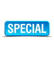 Special blue 3d realistic square isolated button vector image vector image