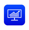 statistics on monitor icon digital blue vector image vector image