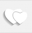 two hearts sign white icon with soft vector image vector image