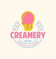 vintage ice cream shop logo badge and label vector image vector image