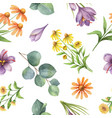 watercolor seamless pattern with flowers vector image vector image